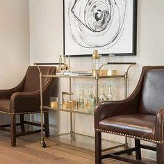 Brass Bar Cart, Magnolia Homes, Dining Room Bar, Glass Shelves, Home Furniture, Furniture Board, Living Spaces, Living Room, Antique Brass
