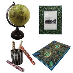 """Christmas Gift Lot Globe, Photo Frame, Pen Pot, Diary Decorative Material Mdf Lac Handmade Table Topper Home Décor Multicolor Set of 4 Items. Beautiful Handmade gift lot which include Globe, Diary, Pen Pot and Photo Frame. This ethnic gift lot combine traditional with a modern design, a great accessory for traditional touch. Material, Size and Color- Globe : Material-Plastic and Iron, Size-Stand -11"""" and Plastic Ball-6"""" Inches, Color-Brown And Yellow Diary : Material-Satin and Lac..."""