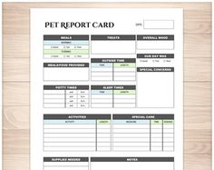 Printable pet report card to track the daily care of your pet while they're in another person's care. A printable pet report card sheet for the your pet's pet-sitter or caregiver to use to track the c Pet Sitting Business, Dog Walking Business, Pet Sitter, Pet Hotel, Pet Boarding, Boarding House, Pet Care Tips, Pet Tips, Dog Daycare