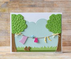 On the Line by Shelly Mercado - Dies - On the Line Cutting Plate, On the Line Accessories, Build a Scene Rolling Clouds, Grass Border  Paper - Build a Scene Patterned Paper, Salt Water Taffy Card Stock