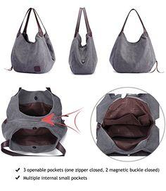 Hiigoo Fashion Women's Multi-pocket Cotton Canvas Handbags Shoulder Bags Totes Purses (Beige): Handbags: Amazon.com