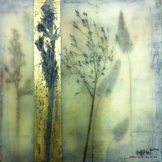 Grass - encaustic mixed media by Monique Day-Wilde