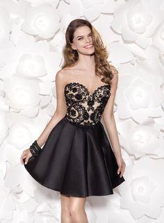 Celin: vestido de cóctel con cuerpo, estilo corsé, de encaje y falda con vuelo