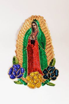 Sequin Guadalupe applique Extra Large 3 flower Virgin Mary Sequin Patch Our lady of Guadalupe for sewing crafting artwork / Bead applique