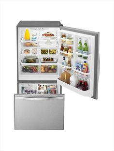 Whirlpool 33 in. W 22.1 cu. ft. Bottom Freezer Refrigerator in Stainless Steel-WRB322DMBM - The Home Depot