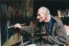 Balthus in his atelier, 1998 -by Alvaro Canovas n a book: Jean-François Chaigneau, 'Dans l'intimité des peintres' (Glénat, 2011) - with photographers from Paris-Match  from Alvaro Canovas / via lalettre (via T for tout)