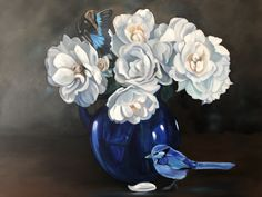 """""""Blue Thou Art, Intensely Blue - Original oil fairy wren , roses and butterfly"""" by Mia Laing. Paintings for Sale. Bluethumb - Online Art Gallery Animal Paintings, Paintings For Sale, Blue Fairy, Buy Art Online, Australian Artists, Floating Frame, Wren, Artist Art, Online Art Gallery"""