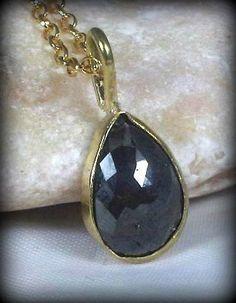 Large Black Rose cut diamond necklace by Marajoyce on Etsy, $440.00