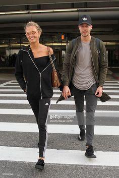 Romee Strijd and Laurens van Leeuwen are seen at LAX on January 24, 2017 in Los Angeles, California.