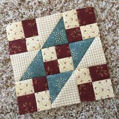 Spirit of America-Block 1 of Buttermilk Basin's Free Sew-a-Long. I'm using scraps from my Kim Diehl stash but BB has a beautiful Spirit of America collection if you're looking for something fresh and new. Thanks, Stacy West, for this fun project. #bmarzspiritofamerica #buttermilkbasinsewalong #henryglassfabrics Sampler Quilts, Scrappy Quilts, Mini Quilts, Patchwork Quilting, Quilt Square Patterns, Easy Quilt Patterns, Pattern Blocks, Quilting Projects, Quilting Designs
