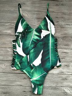 Cut Out Leaves Print One-Piece Swimwear - GREEN M Pinterest @cmckenzie-cook
