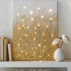 DIY String Light Backlit Canvas Art Ideas Crafts - Light Up Glitter Canvas