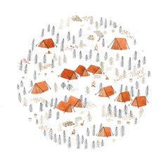 Tent illustration card by SarahBurwash on Etsy
