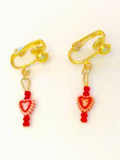 red heart earrings Valentine jewelry Clip on by JeriAielloartstore