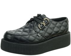 Quilted black faux leather, gold grommets, creeper perfection.