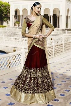 Shop online for attractive long lehenga choli designs. Buy now! This precious maroon and beige embroidered and resham work a line lehenga choli. Wedding Lehnga, Indian Wedding Wear, Indian Bridal Outfits, Desi Wedding, Indian Dresses, Indian Weddings, Indian Wear, Bridal Dresses, Punjabi Wedding
