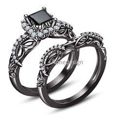 14K Black Gold Finish Bridal Princess Cut Prong Set Stone Disney Engagement Ring #aonedesigns #EngagementWeddingAnniversaryPromiseMothersDay