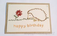 Hand Embroidered Birthday Card Hedgehog by sleepingfoxstitchery, $6.00