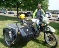 Kawasaki KLR650 with adventure sidecar with large diamond plate trunk