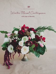 DIY winter floral centerpiece with the Pantone 2015 color of the year: Marsala