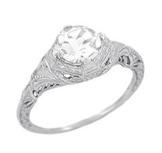 pictures of ring settings 14 carat white gold | ... Sapphire Engraved Filigree Engagement Ring in 14 Karat White Gold