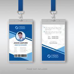 Modern blue id card template Premium Vector Identity Card Design, Id Card Design, Badge Design, Id Card Template, Card Templates, Creative Poster Design, Creative Posters, Cool Business Cards, Business Card Design
