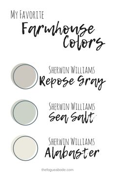 favorite farmhouse colors sherwin williams repose gray sea salt alabaster You may be asking yourself what exactly constitutes farmhouse style? Sure you've seen shows like Fixer Upper. But you aren't exactly sure how to create. Sherwin Williams Repose Gray, Sherwin Williams Sea Salt, Sherwin Williams Alabaster, Interior Paint Colors For Living Room, Bedroom Paint Colors, Paint Colors For Home, Interior Colors, Gray Bedroom, Interior Design