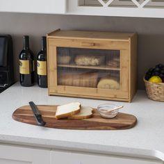 Kitchen Countertop Decor, Diy Kitchen Storage, Small Kitchen Organization, Organized Kitchen, Wooden Bread Box, Vintage Bread Boxes, Bread Storage, Natural Kitchen, Wooden Kitchen