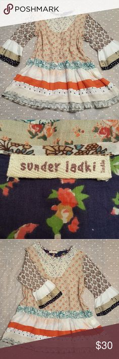 Sunder Ladki Gauzy Cotton Boho Tunic Sunder Ladki India Gauzy Cotton Boho Tunic Excellent pre-loved condition!  100% Cotton This is a Japanese brand, and I am trying to translate the size label. It fits like medium- large.  *Measurements coming soon!* Sunder Ladki Tops Tunics