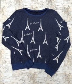 Wildfox Je T'aime Eiffel Tower Baggy Loose Pullover Sweater *Rare* Women's M /   | eBay