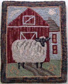 Este listado está para la alfombra enganche modelo Annabelle, la oveja errante. Esto es para el patrón solamente. La alfombra acabada se utiliza como un ejemplo solamente y no está incluida en el listado.  El diseño es 14 x 18 y es mano dibujada en paño de monjes o lino primitivo, lo que usted prefiere. Paño de monjes es ideal para todo tipo de cortes de lana. Ropa primitiva es mejor que cortes amplia, #8 (1/4) y más ancho. El diseño está rodeado por un borde de 4 para que se ajuste en más…
