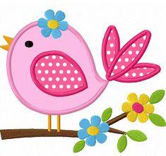 Instant Download Bird With Flower Applique Machine Embroidery Design NO:1291. $2.99, via Etsy.