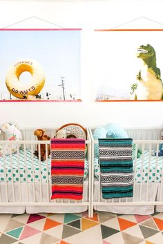 A Bright and Colorful Boy/Girl Twin Nursery // Salty Canary. Love these blown up photos of landmarks