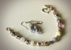 Комплект украшений браслет и серьги в сиренево - розовых тонах, ручная  работа, фурнитура, бусины, металл под серебро