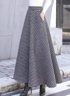 Geometric Maxi Elegant Pockets Skirts (1284979) #Women #Fashion Muslim Fashion, Modest Fashion, Hijab Fashion, Fashion Dresses, Woman Dresses, Long Skirt Outfits, Dress Outfits, Long Skirts, Look Fashion