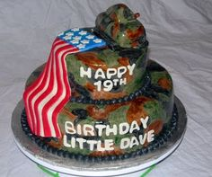 Everyone deserves a stunning cake on their birthday and unique birthday cake designs are sure to surprise your friends and family on their special days. Army Cake, Military Cake, Fruit Recipes, Cake Recipes, Cake Design For Men, Happy 19th Birthday, Camo Cakes, Different Types Of Cakes, Cake Makers