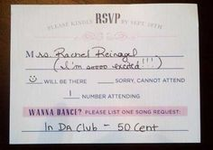 song request on rsvp cards.