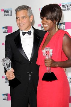 Viola Davis in the lovely company of George Clooney during the Critics Choice Awards wearing #Bochic