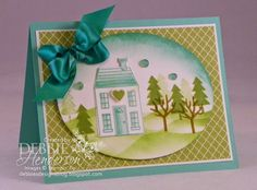 Stampin' Up! Holiday Home and Homemade Blendabilities Glue Dots. Tutorial included. Debbie Henderson, Debbie's Designs.