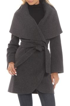 Tahari Marla Belted Wool Blend Coat in Charcoal - Beyond the Rack