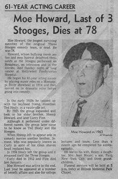 41 years ago, One of Moe Howard's Obituaries. The Stooges, The Three Stooges, Moe Howard, 1980s Kids, Acting Career, Vintage Tv, My Childhood Memories, Favorite Tv Shows, Favorite Things