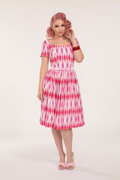 Pinup Couture Gena Dress in Pink Harlequin | Retro Style Dress | Pinup Girl Clothing