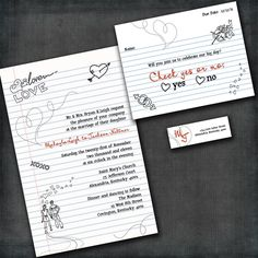 Custom Wedding invitation - Check Yes Or No Suite with RSVP cards and address labels. $1.60, via Etsy.