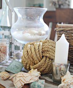 Tisch Deko Ideen Seile Kerzen
