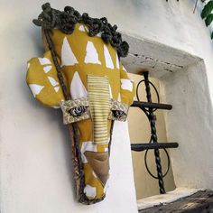 Textile and Palm Contemporary African Masks - &Banana Concept Store