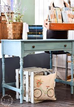 Adorable antique writing desk makeover using MMS Milk Paint in Kitchen Scale.  See lots of up close photos of milk paint along with how to finish a piece with white wax.  Milk Paint tips from a pro!
