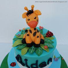Sugar Sweet Cakes and Treats: Giraffe Themed First Birthday Cake Giraffe Birthday Cakes, Giraffe Cakes, Birthday Cakes For Women, First Birthday Cakes, Cakes For Boys, Birthday Cupcakes, Birthday Parties, Birthday Ideas, Sweet Cakes