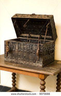 Antique medieval wooden chest