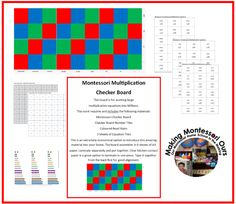 """Making Montessori Ours"": Multiplication Checker Board Materials Printable"