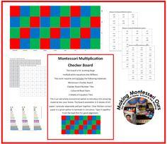 Making Montessori Ours Education Printables: Montessori Multiplication Checker Board Materials Printable